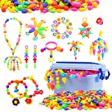 Snap Pop Beads for Girls, 580 PCS Kids Jewelry Making Kit Pop-Bead Art and Craft Kits DIY Bracelets Necklace and Rings Creati