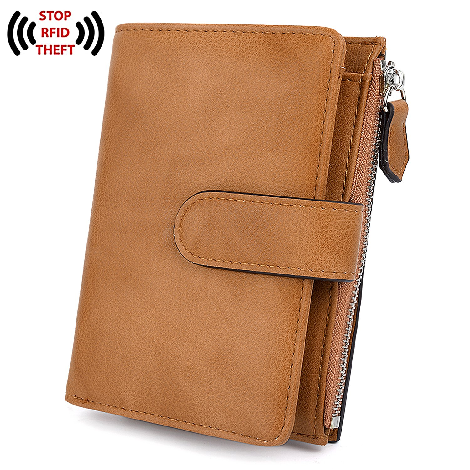 UTO RFID Wallet for Women PU Leather 15 Card Holder Zipper Coin Pocket Brown