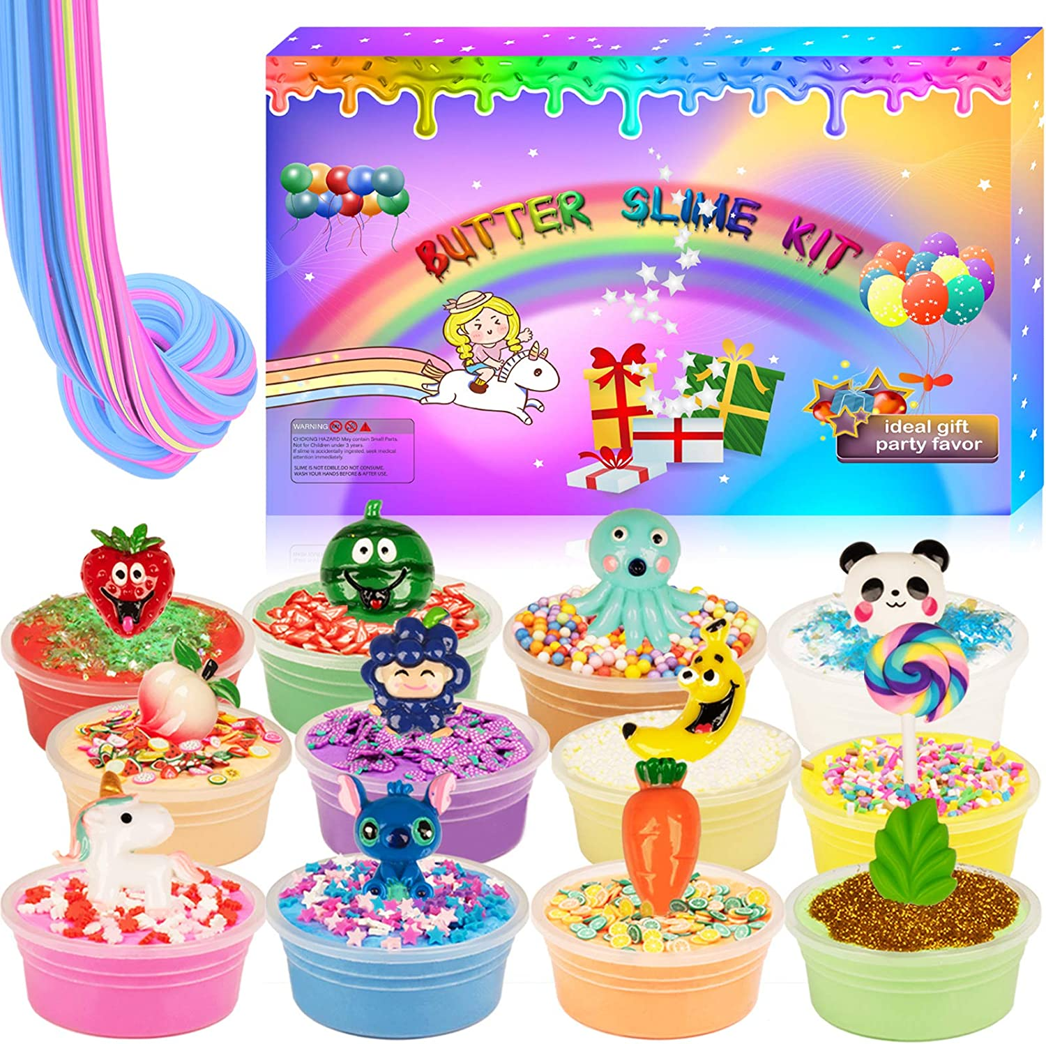 Hahafunyo Butter Slime Kit DIY 12 Pack for Girl Boy, Stretchy Bubble Slime Non Sticky Fun Slime for Kids, Cute Charms Animal Food Plant, Sprinkles, Glitters, Fruit Slices, All in One Slime Party Favor