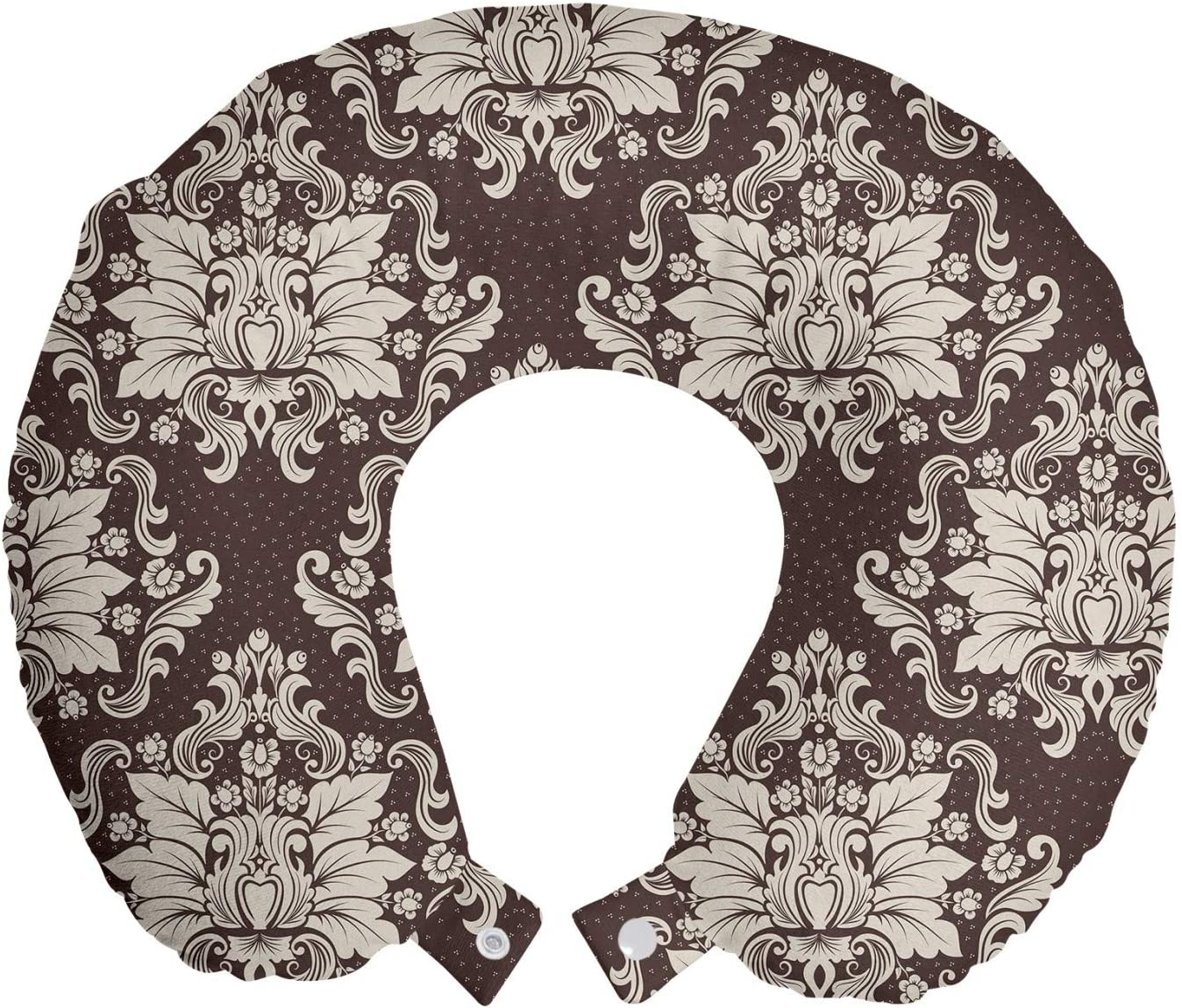 Amazon Com Ambesonne Damask Travel Pillow Neck Rest Victorian Floral Pattern With Blooming Foliage Leaves On Dark Toned Backdrop Memory Foam Traveling Accessory For Airplane And Car 12 Brown And Beige Home