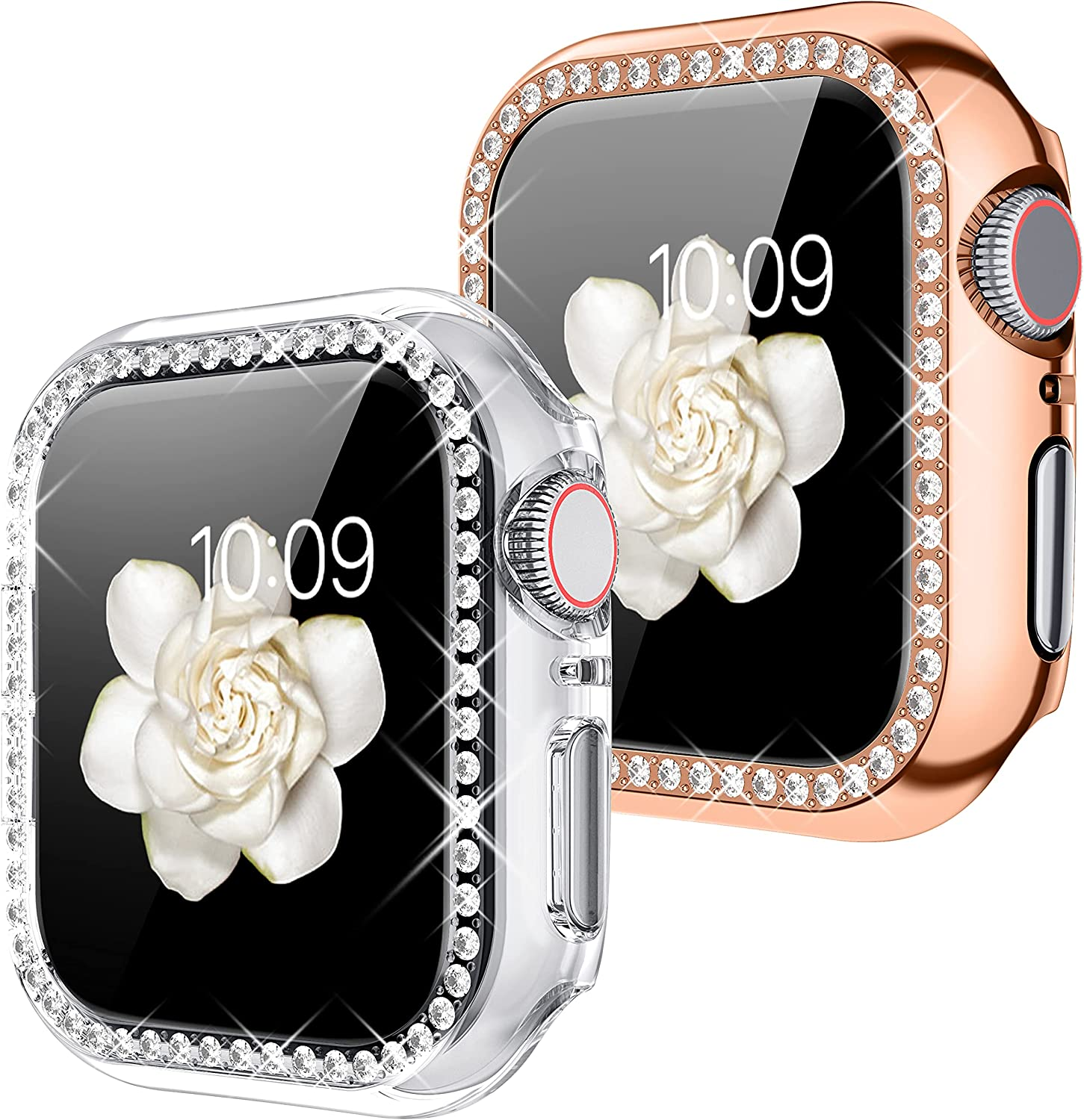 Goton Compatible for Apple Watch Case 42mm , (2 Packs) Women Girls Bling Crystal Diamond Watch Full Cover Screen Protector Bumper Case for iWatch Series 3 / Series 2/ Series 1(Clear+Rosegold, 42 mm)
