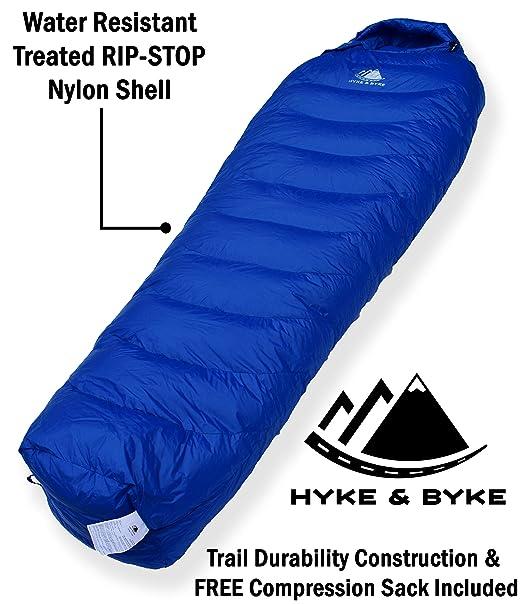 Hyke & Byke Quandary Saco de Dormir Momia -10 Grados C Ultraligero - Saco de Dormir con Plumón y Bolsa de Compresión Liviana para IR de Excursión y ...