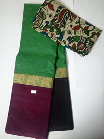 b9e853b36b Three bordered Green, magenta pink and lovely brown pure Chettinad Cotton  Saree and Kalamkari Blou: Amazon.in: Clothing & Accessories