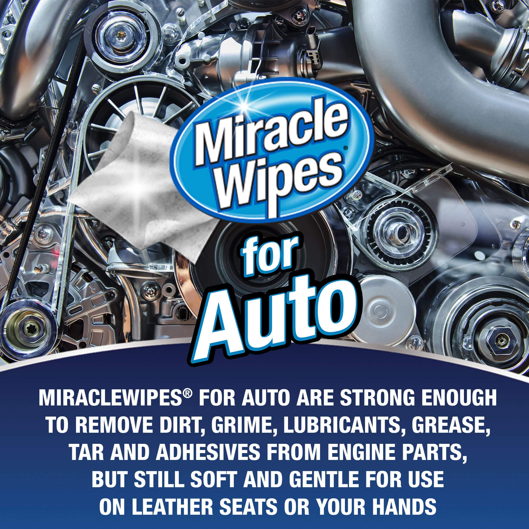 MiracleWipes for Automotive - All Purpose Cleaner, Hands, Interior, Exterior, Detailing - Removes Grease, Lubricants, Sticky Adhesives, Grime, Dirt & More - Car Cleaning Supplies - 6 Pack (90 Count) by MiracleWipes (Image #7)