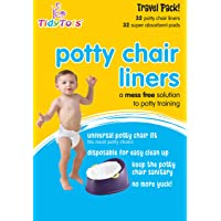 Tidy Tots Disposable Potty Chair Liners - Travel Pack XL - 32 Liners and 32 Super-Absorbent Pads, White