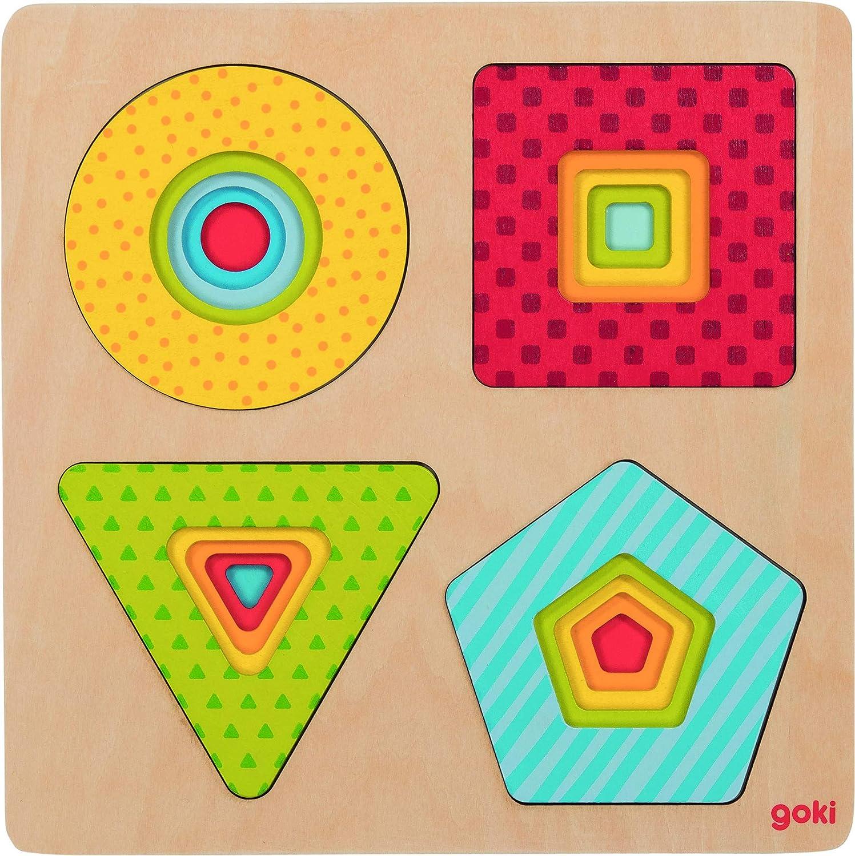 GOKI- Puzzles de maderaPuzzles de maderaGOKIPuzzle de Capas, Formas, Multicolor (1)