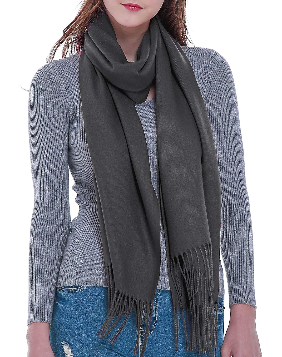 Deep Grey Rheane Large Cashmere Feel Pashmina Shawl Scarf in Solid colors