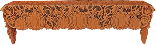 Heritage Lace Orange 20 X96 Pumpkin Vine Mantle Scarf, 20 x 96