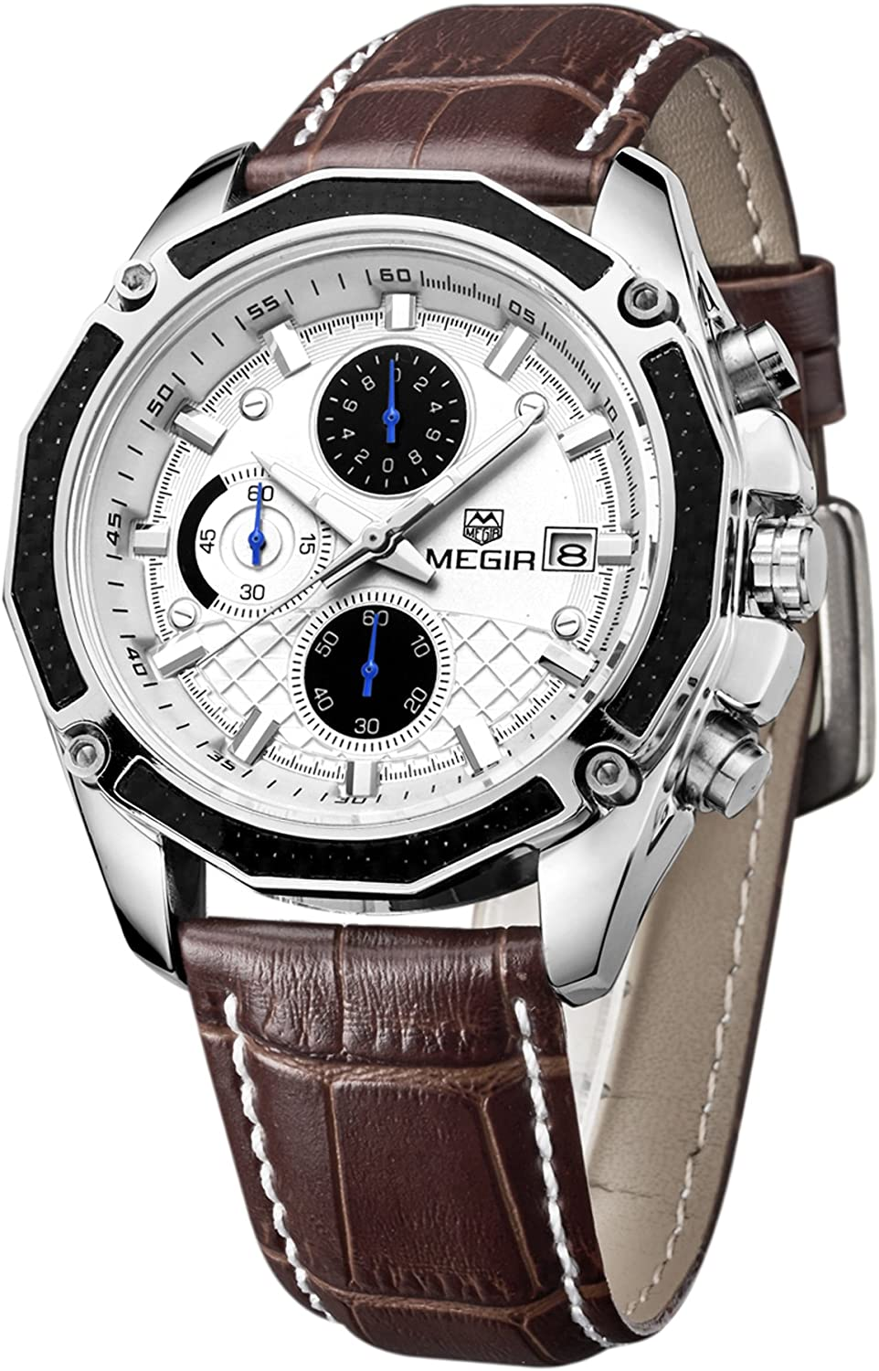 Mens Military Multifunction Quartz Wrist Watch Chronograph Sport Watches Brown Leather