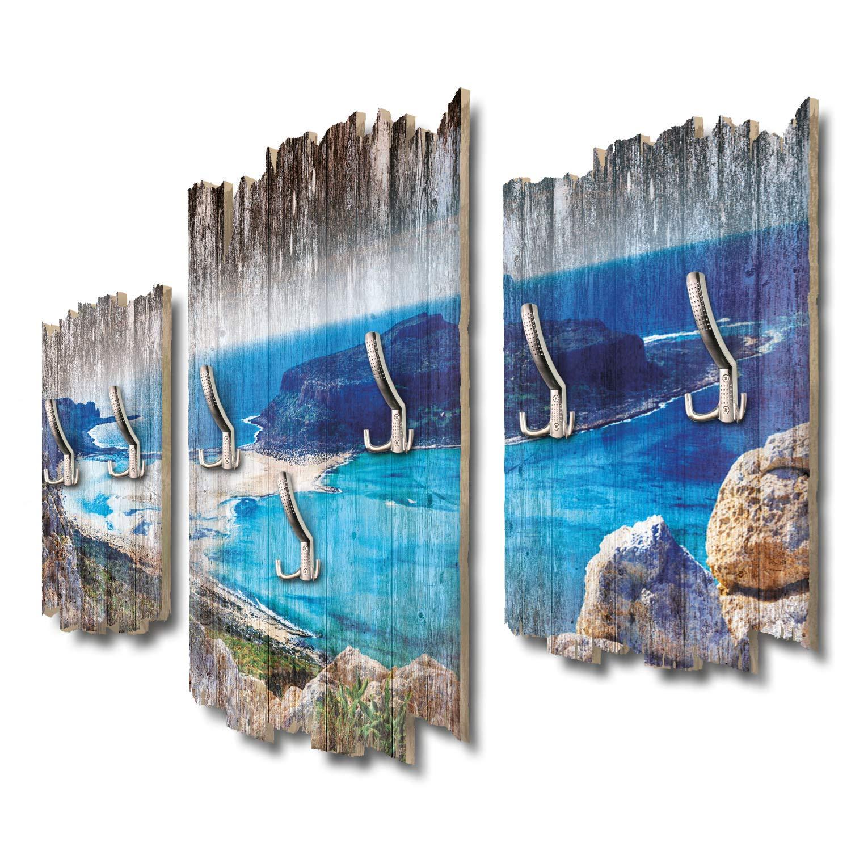 Balos Bucht Kreta Designer Wandgarderobe Flurgarderobe Wandpaneele 95 x 60 cm aus MDF DTGH045
