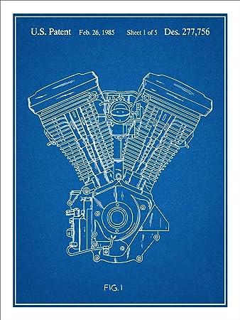 Amazon harley davidson motorcycle evolution engine patent print harley davidson motorcycle evolution engine patent print art poster unframed blueprint 18quot malvernweather Image collections