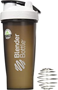 BlenderBottle Full Color Bottles - New Black Translucent Color with Shaker Ball - White - 28oz