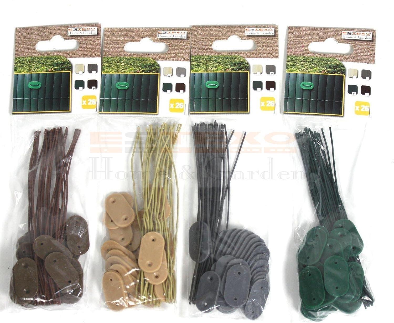 25, Gr/ün Draht f/ür PVC Sichtschutzmatten Befestigungs Set ESTEXO Befestigungsclips Sichtschutz