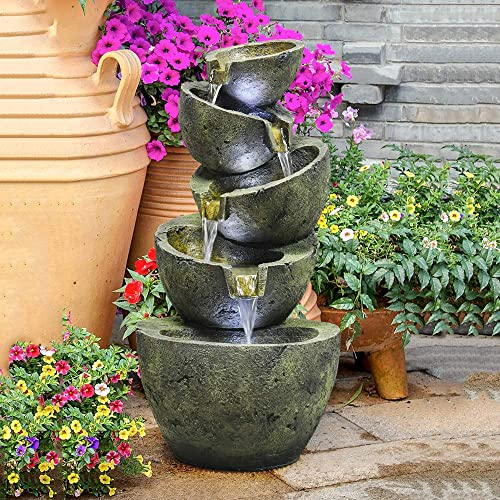 PeterIvan Outdoor Water Fountain – 23.6In Hand-Crafted Cascading 5-Tier Weatherproof Water Fountain with LEDs Lights for Gardens Patios