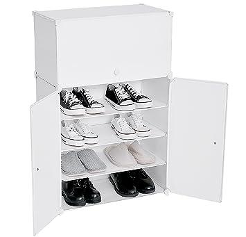 Cu0026AHOME Diy 6 Tiers Shoe Rack Plastic Shoe Storage Organizer Cabinet With  Doors, White