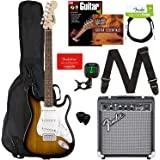 Fender Squier Stratocaster - Sunburst Bundle with Frontman 10G Amp, Gig Bag, Instrument Cable, Tuner, Strap, Picks, Fender Pl
