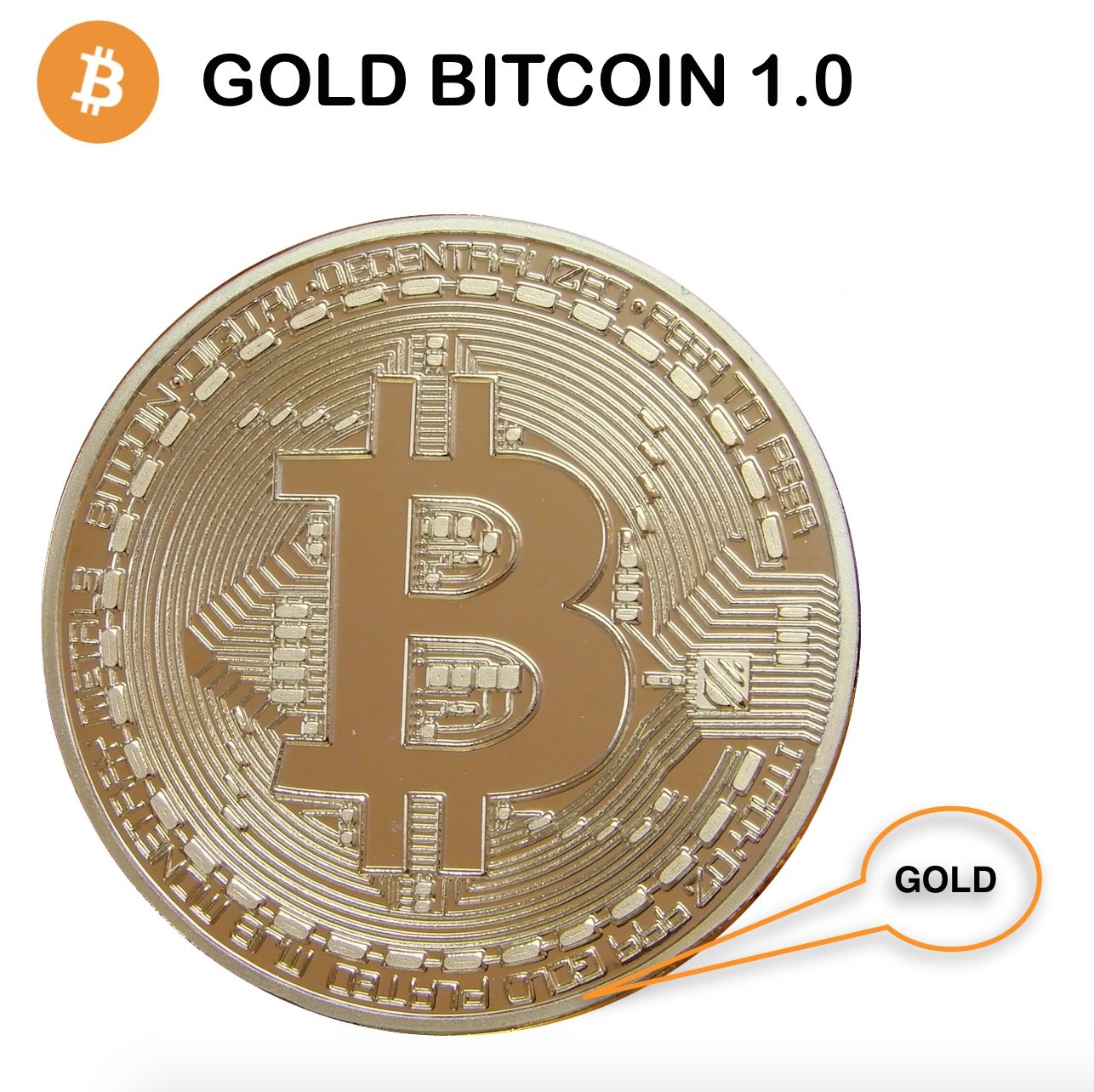Fine Gold Bitcoin Commemorative Round Collectors Coin Bit Coin is Gold Plated