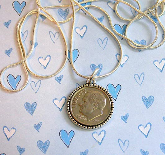 13th Birthday Gift For Grandaughter Or Grandson BIRTHDATE BIRTHDAY Dime Pendant Necklace Coin
