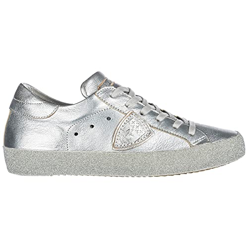 Philippe Model Women s Shoes Leather Trainers Sneakers Paris Glitter Silver  UK Size 3 A18ECGLDML22 736398303d5