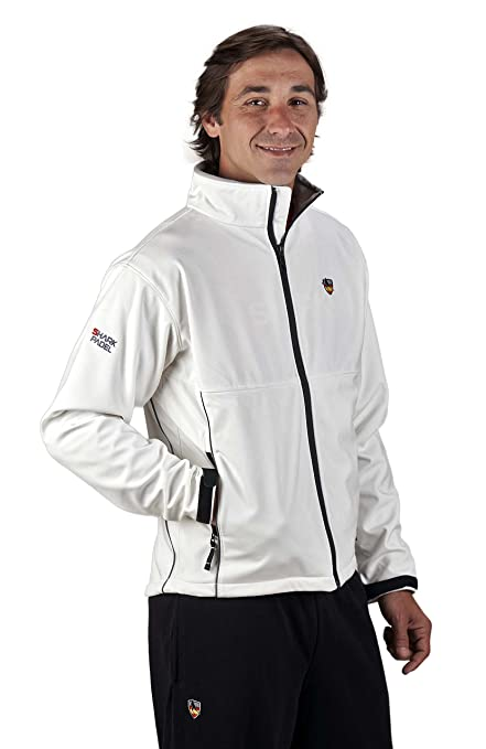 Chaqueta Soft Shell transpirable cortaviento impermeable Shark Padel (blanco, XL)