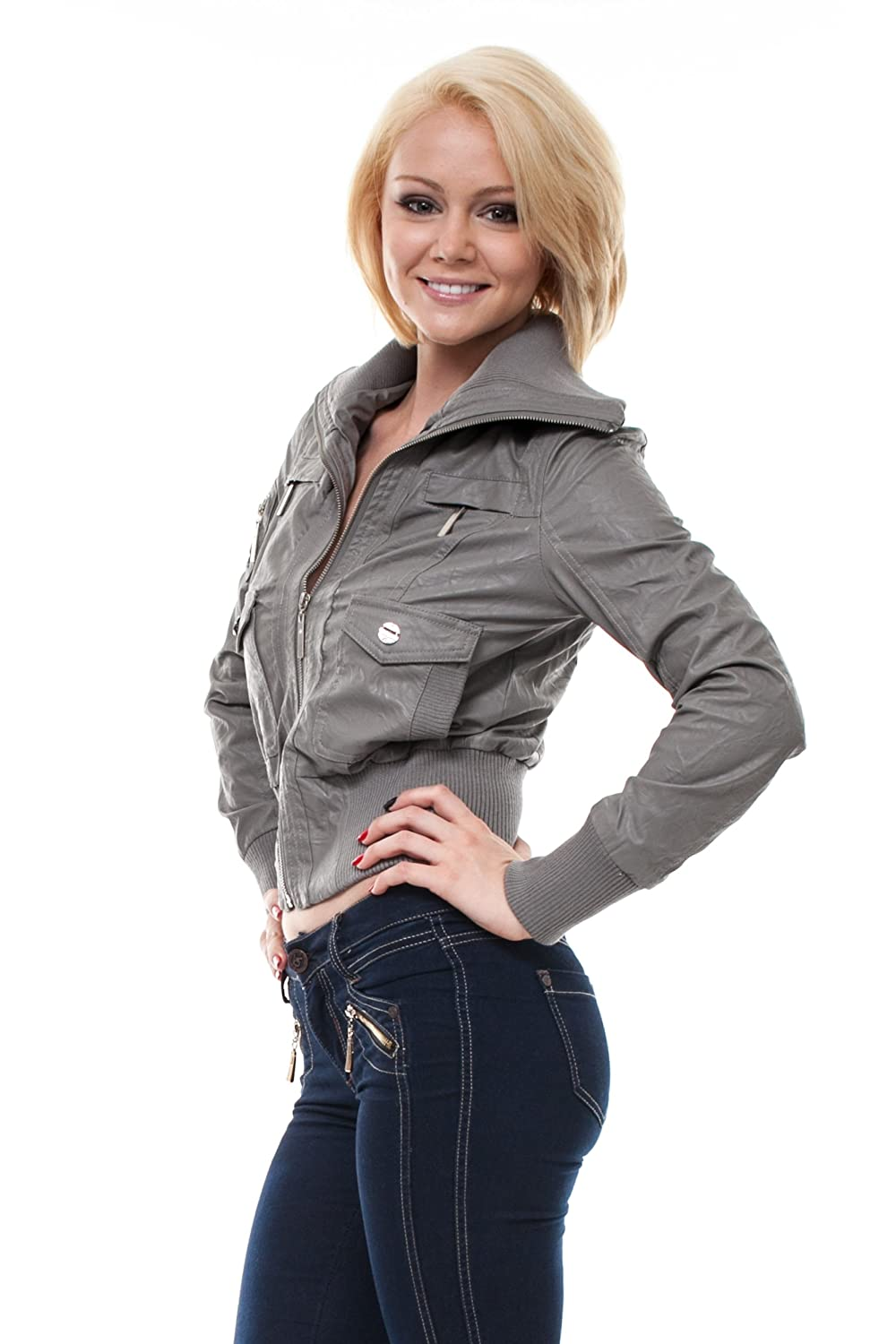 VIRGIN ONLY Womens High-Grade Faux-Leather Jacket at Amazon Womens Clothing store: