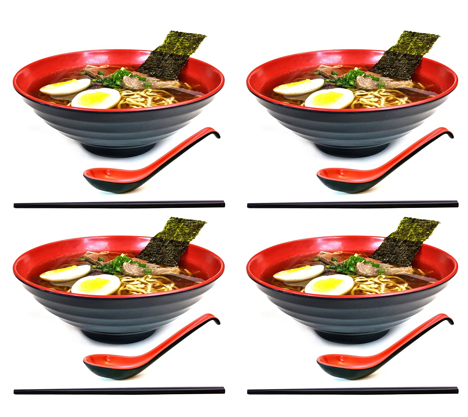 4 sets (12 piece) Large Japanese Ramen Noodle Soup Bowl Melamine Hard Plastic Dishware Set with Matching Spoon and Chopsticks for Udon Soba Pho Asian Noodles (4, Red)