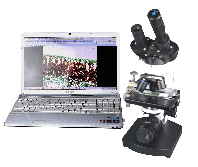 Radical 2500X Binocular Biology Compound Led Battery Microscope W Usb Camera 3D Stage /& Slide Kit