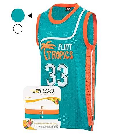 95b383446 AFLGO 33 Flint Tropics Jackie Moon Semi Pro Basketball Jersey Include Set  Wristbands S-XXL