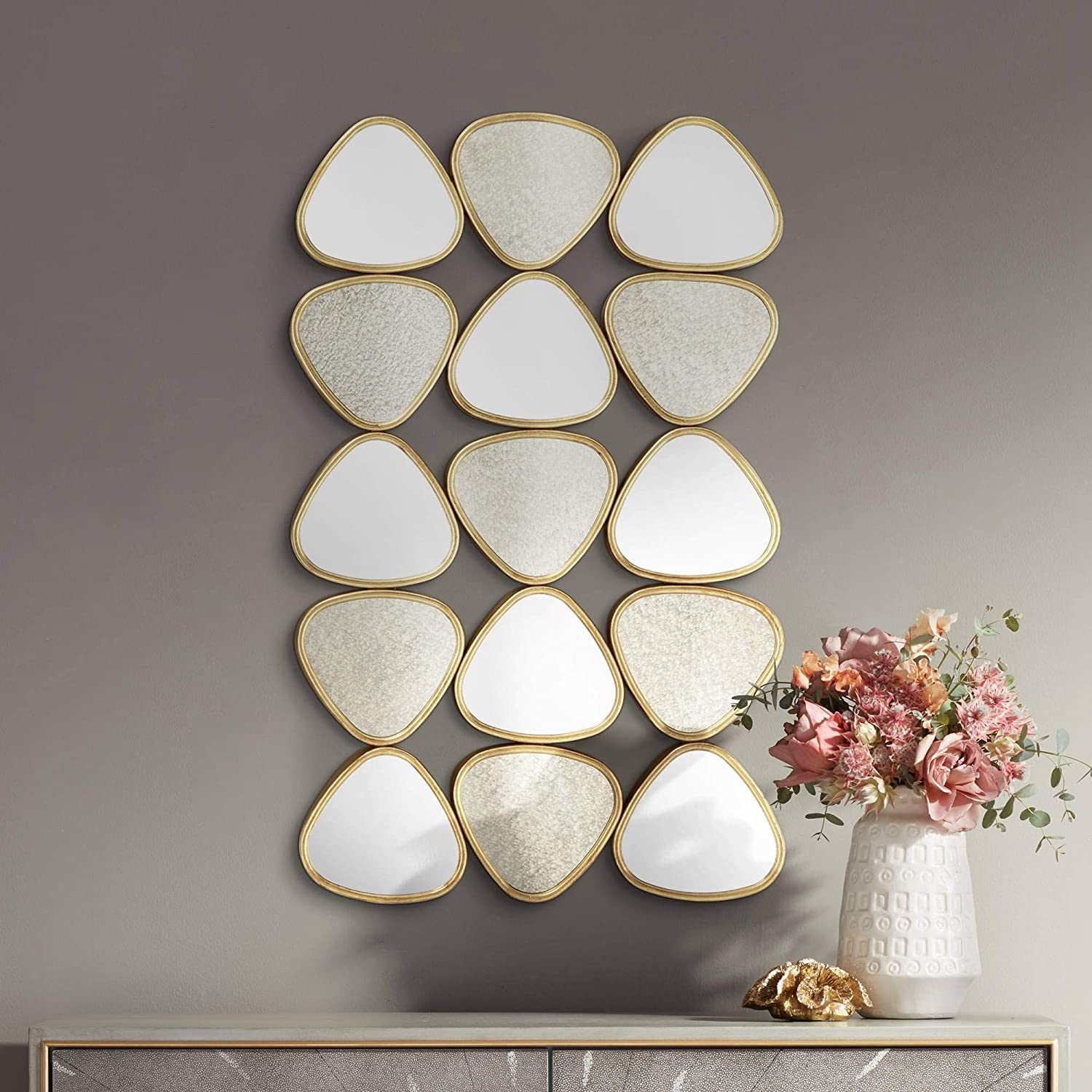 Amazon Com Newhill Designs Ralston 33 1 2 H Glossy Gold Triangle Metal Mirror Wall Art Home Kitchen