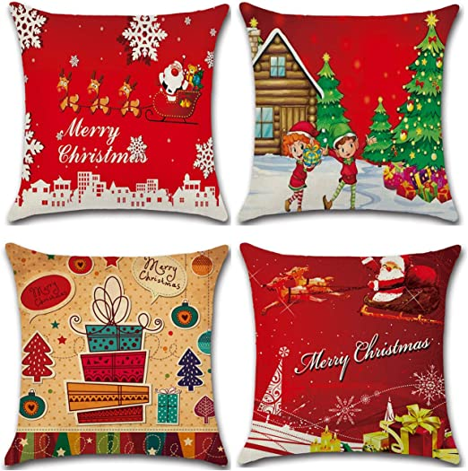 Christmas Cotton Linen Square Home Decorative Throw Pillow Case Cushion Cover