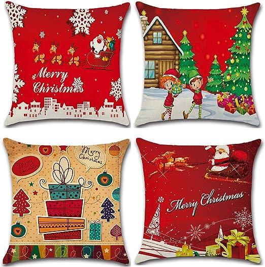 Christmas Cotton Linen Square Home Decorative Throw Pillow Case Cushion Cover