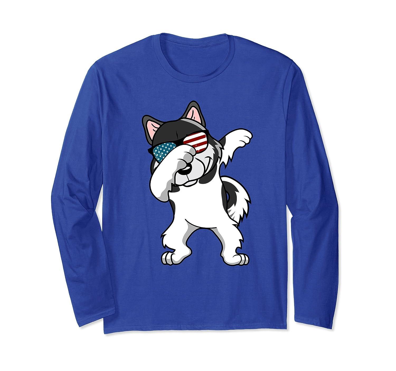Dabbing Alaskan Malamute Dog America Flag Free USA LS-Shirt-alottee gift