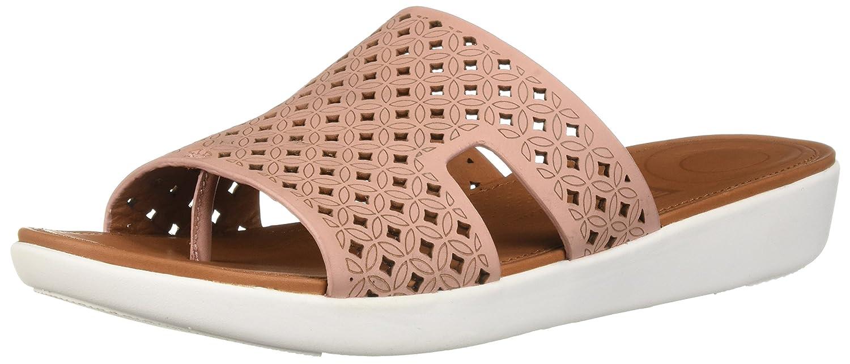 FitFlop Women's H-Bar Latticed Leather Slide Sandal B07CMKCX1R 6 M US|Dusky Pink