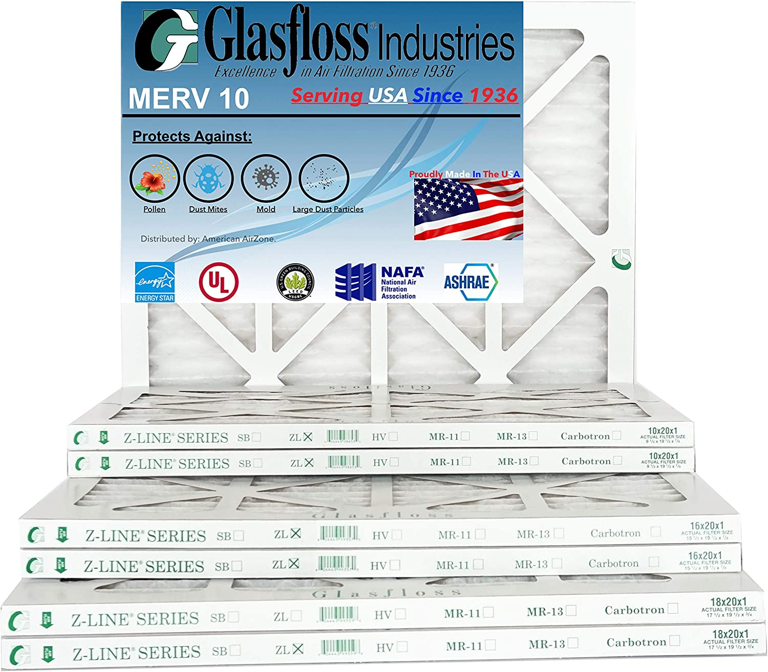 Glasfloss 16x20x1 - 1 Inch MERV 10 - (Pack of 12) - AC or HVAC Pleated Air Filter - Furnace Air Filter - For Home or Office - Made In The USA (Actual Size: 15.5x19.5x7/8 Inch)