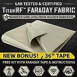 "New! TitanRF Faraday Fabric 44"" x 36"" + Extra 36"" TitanRF Tape! Military Grade Certified Material Blocks RF Signals…"