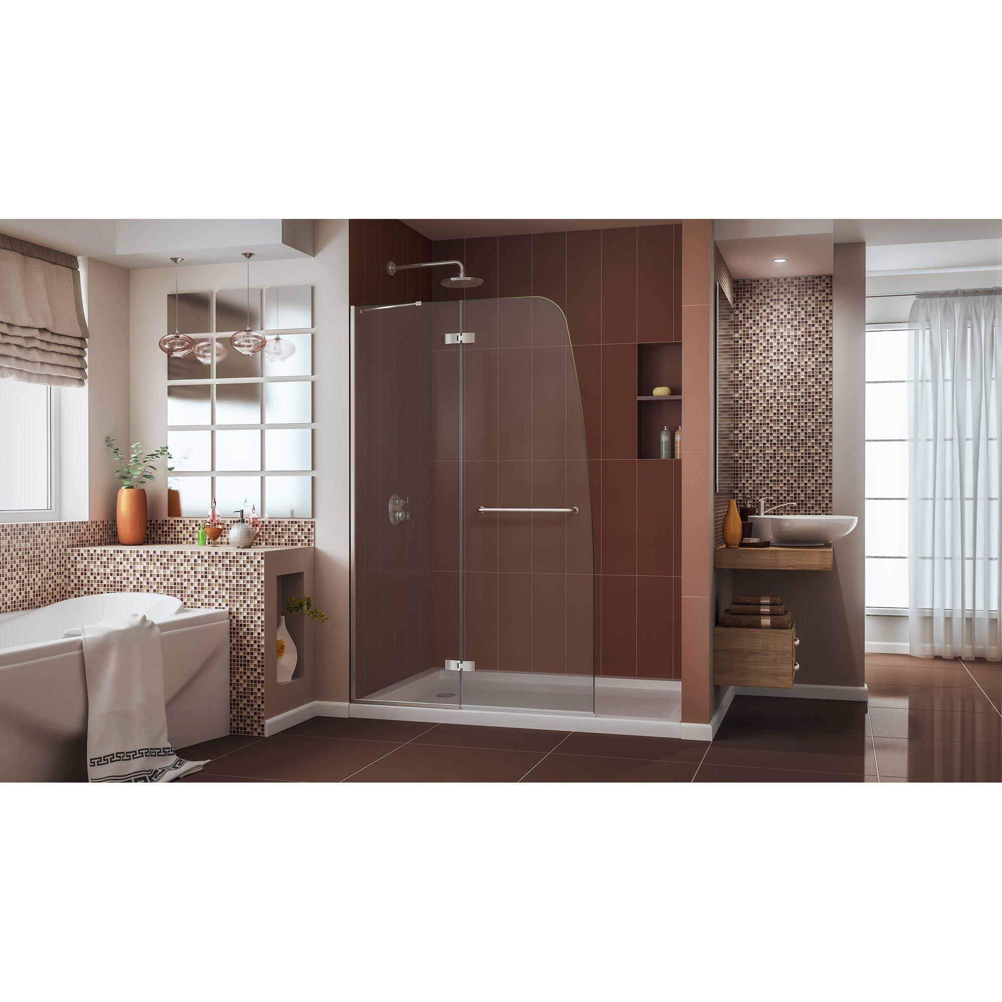 DreamLine Aqua Ultra 45 in. W x 72 in. H Frameless Hinged Shower Door in Brushed Nickel, SHDR-3445720-04 by DreamLine (Image #3)