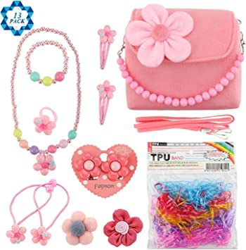 SOTOGO Plush Purses Flower Handbag Set With Hair Clip Necklace Bracelet Set And Earrings Ring Small Brooch Rubber Band Set For Little Girls And Toddlers