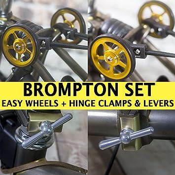 Brompton – Juego personalizado: fácil ruedas Bisagra abrazaderas y palancas oro plata ligero