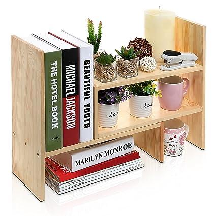 Desktop Shelves Bookshelf Desk Organizer Adjustable Countertop Bookcase DIY Table Storage Accessories Display Shelf Rack For