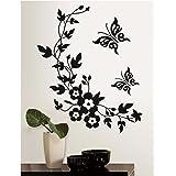 Wandtattoo Wohnzimmer Blumenranke Ornament Schlafzimmer Schmetterling  Wandaufkleber