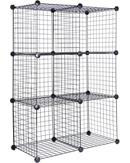J.S. Hanger Black Wire Storage Cubes, Set of 6, Clothes Organizer