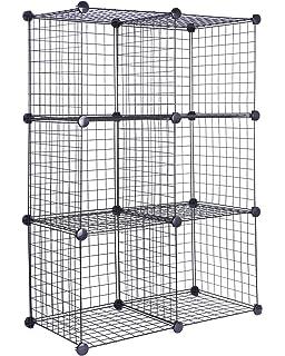 J.S. Hanger Black Wire Storage Cubes, Set Of 6, Clothes Organizer