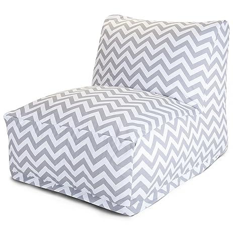 Majestic Home Goods Chevron Bean Bag Chair Lounger Gray