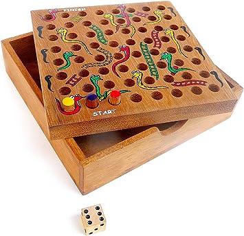 LOGICA GIOCHI Art. Serpientes y Escaleras – Juego de Bolsillo - Caja De Madera Preciosa - Juegos De Mesa para Niños - Versión De Viaje: Amazon.es: Juguetes y juegos