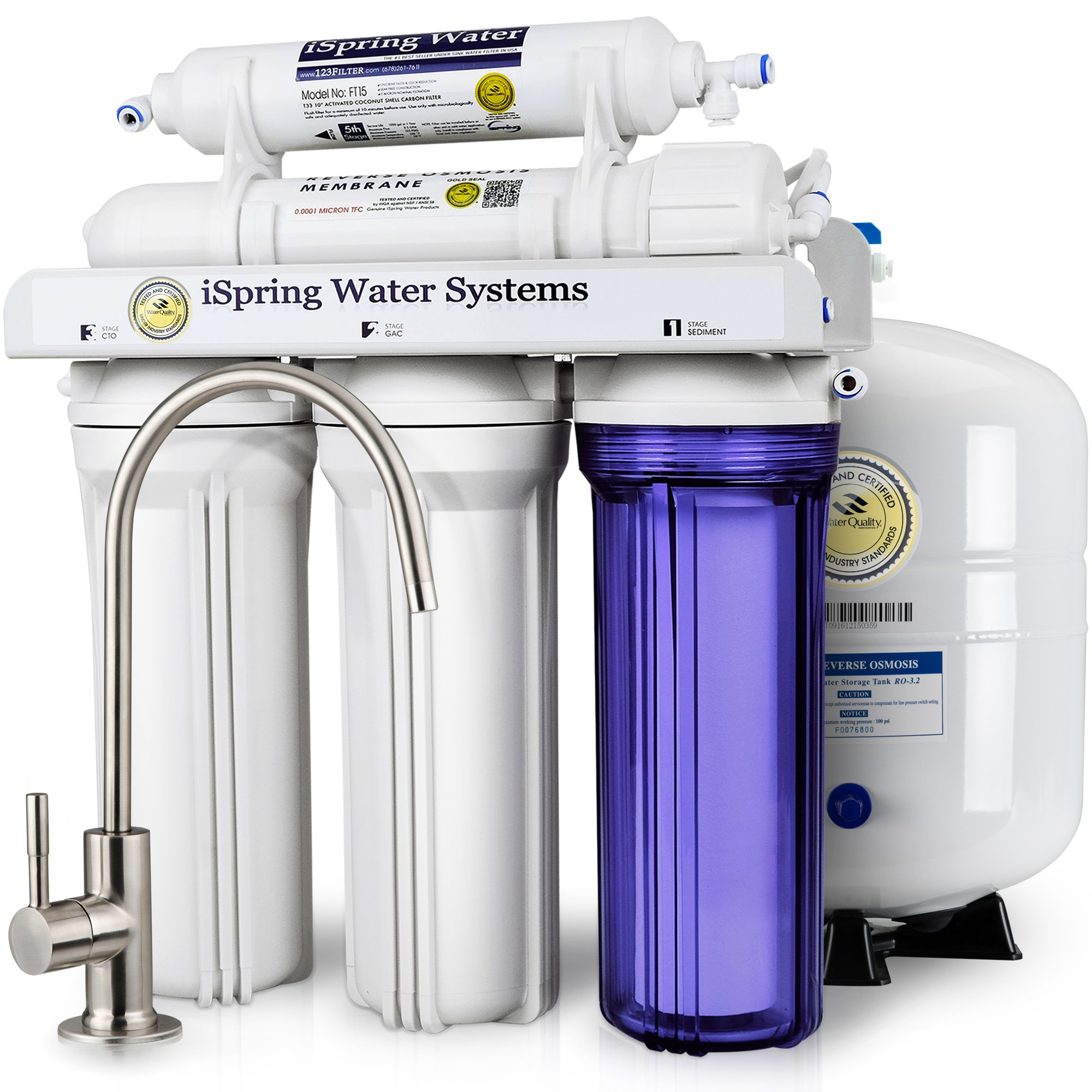 iSpring RCC7 High Capacity Under Sink 5-Stage Reverse Osmosis Drinking Water Filtration System and Ultimate Water Softener- WQA Gold Seal Certified