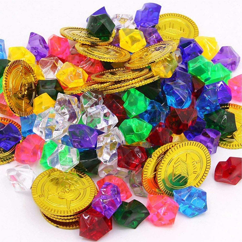 XUNKE Monedas de Oro y Gemas Piratas del Tesoro Pirata, Niños de Monedas de Oro de 50 Piezas y Gemas Piratas de 100 Piezas, Tesoros para la Búsqueda del Tesoro Cumpleaños de los Niños