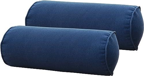 SewKer Indoor Outdoor Round Bolster Pillow,Corded, Set of 2 Stylish Bravada Salsa Floral Pattern Botanical Classic Red Medallion Grey Creamy-White 3617-3618 Dark Blue