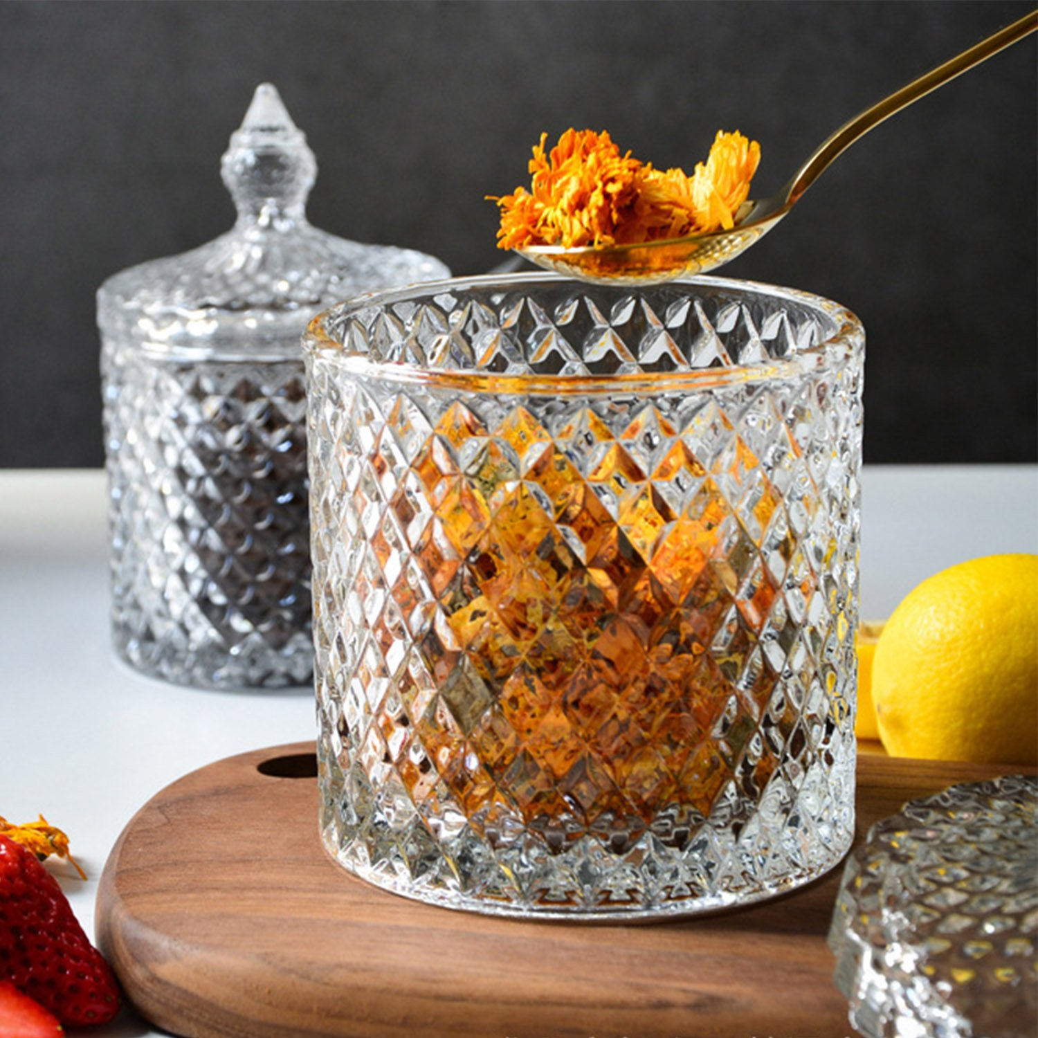 300ml Danmu Art 1pc Clear Glass Storage with Lid Candy Jar Biscuit Box Containers