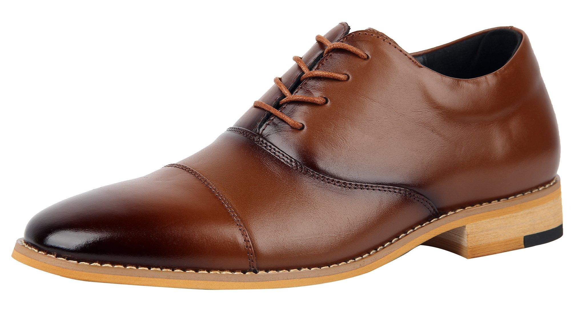 Men's Leather Cap-Toe Lace-up Oxford Shoe Brown US Size 14