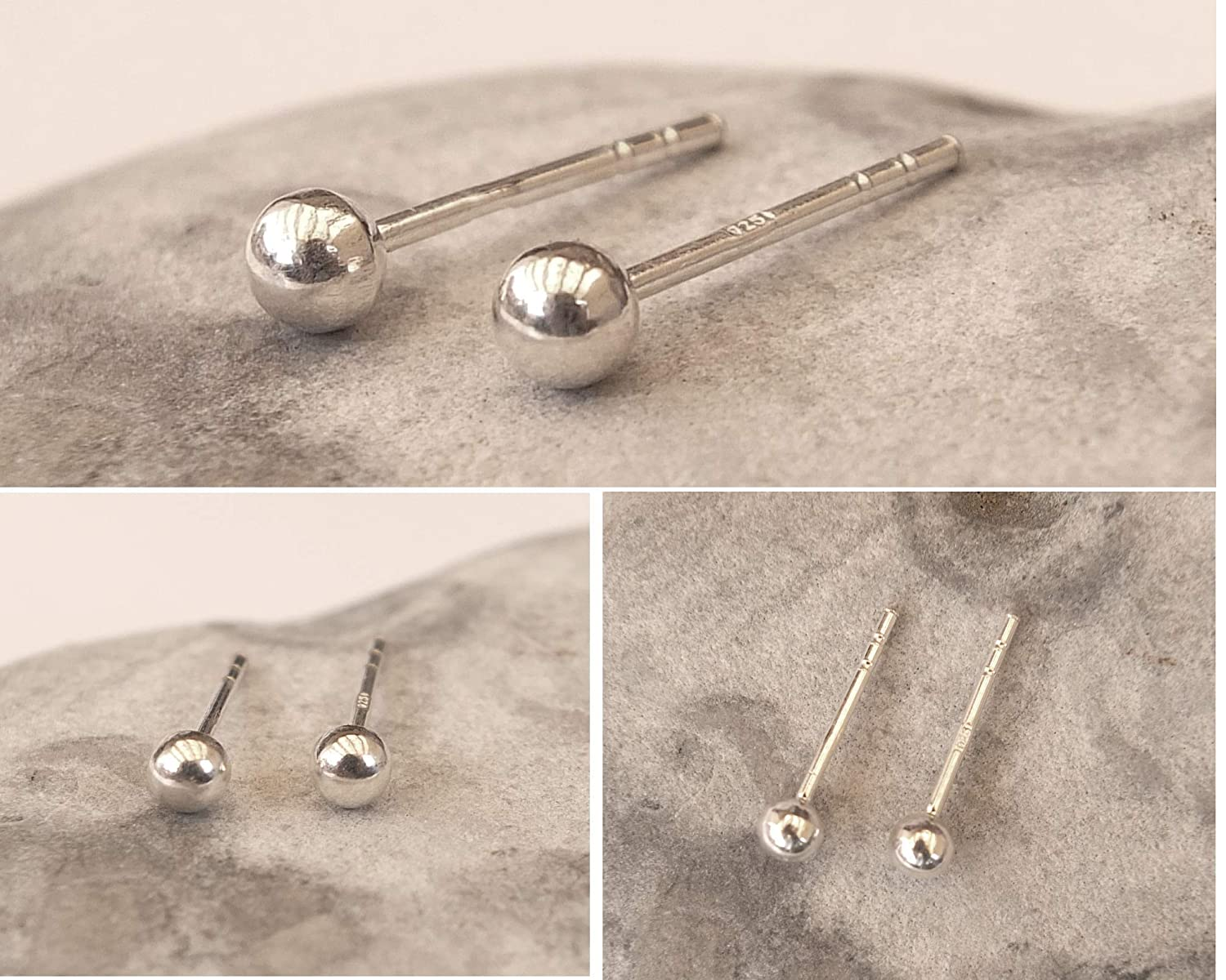 Dainty Classic ball Studs Set of 3 pairs Sterling Silver Tiny Ball Stud Earrings 2mm 2.5mm 3mm
